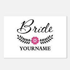 Custom Bride with Flower Postcards (Package of 8)