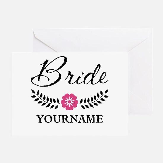 Custom Bride with Flower Wreath Greeting Card