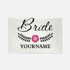 Custom Bride with Flower Wreath Rectangle Magnet