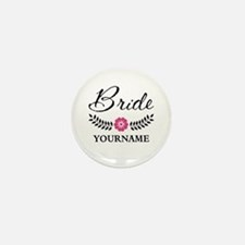 Custom Bride with Flower Wre Mini Button (10 pack)