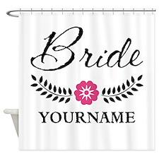 Custom Bride with Flower Wreath Shower Curtain