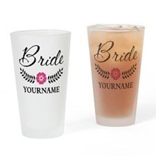 Custom Bride with Flower Wreath Drinking Glass
