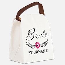 Custom Bride with Flower Wreath Canvas Lunch Bag