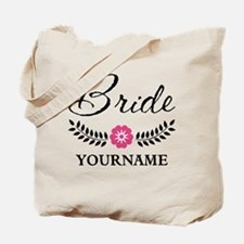 Custom Bride with Flower Wreath Tote Bag