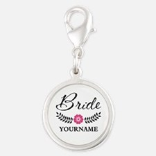 Custom Bride with Flower Wreat Silver Round Charm