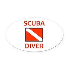 SCUBA DIVER Oval Car Magnet