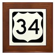 US Route 34 Framed Tile