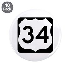 """US Route 34 3.5"""" Button (10 pack)"""