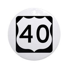 US Route 40 Ornament (Round)