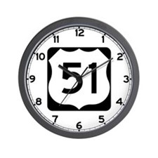 US Route 51 Wall Clock