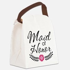 Cute Pink Maid of Honor Canvas Lunch Bag