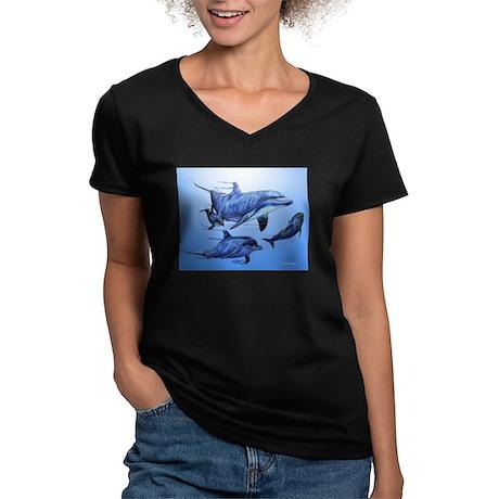 Dolphin Family Women's V-Neck Dark T-Shirt