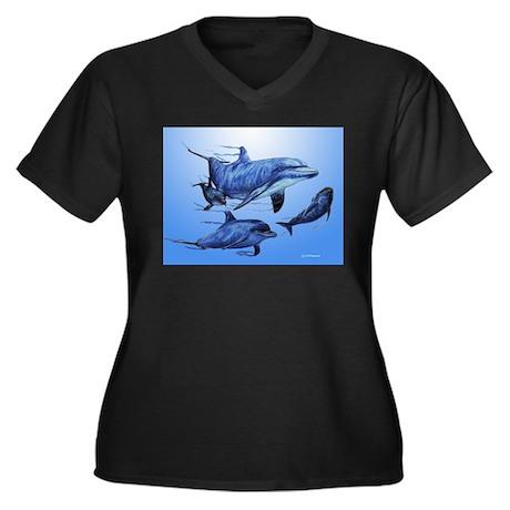 Dolphin Family Women's Plus Size V-Neck Dark T-Shi