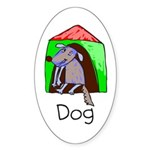 Kid Art Dog Oval Sticker