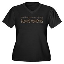 Blonde Moments Women's Plus Size V-Neck Dark T-Shi