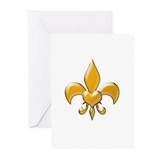Gold Fleur de lis Greeting Cards (Pk of 10)
