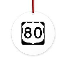 US Route 80 Ornament (Round)