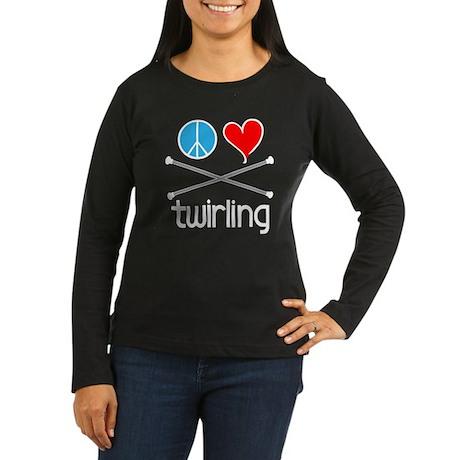 Peace Love Twirling Women's Long Sleeve Dark T-Shi
