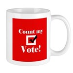 count my vote (red) Mug
