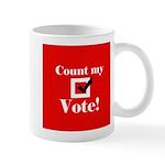 count my vote (red) Mug