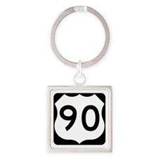 US Route 90 Square Keychain