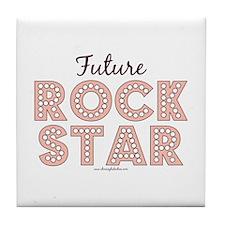 Pink Brown Future Rock Star Tile Coaster