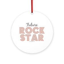 Pink Brown Future Rock Star Ornament (Round)