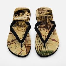 vintage london big ben Flip Flops