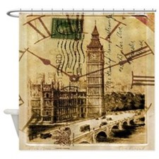 vintage london big ben Shower Curtain
