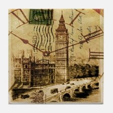 vintage london big ben Tile Coaster