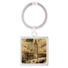 vintage london big ben Square Keychain