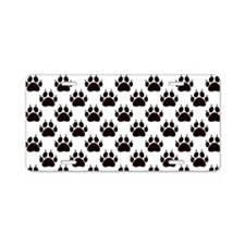 Cat Paw Print Pattern Aluminum License Plate