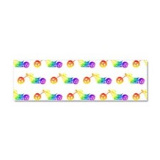 Rainbow Motorcycle Pattern Car Magnet 10 x 3
