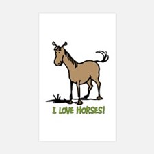 I love horses cute Rectangle Decal