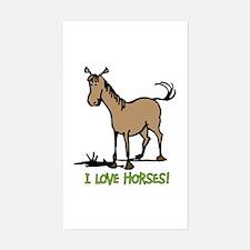 I love horses cute Rectangle Decal