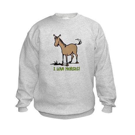 I love horses cute Kids Sweatshirt