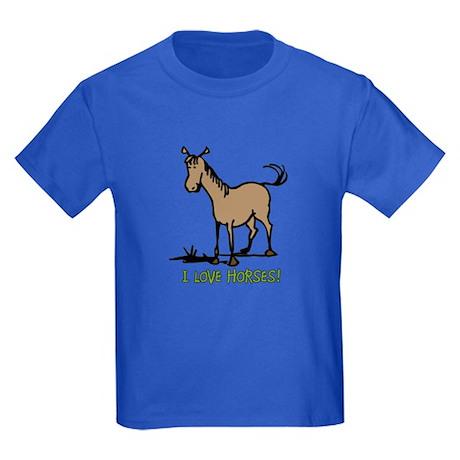 I love horses cute Kids Dark T-Shirt