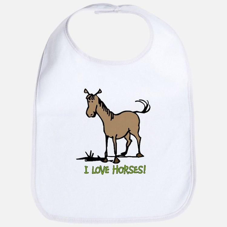 I love horses cute Bib