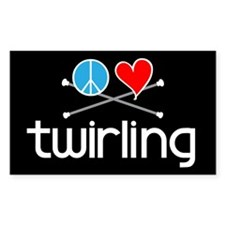 Peace Love Twirling Rectangle Decal