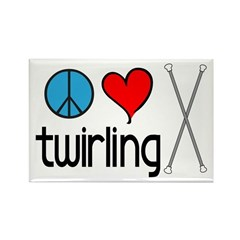 Peace Love Twirling Rectangle Magnet