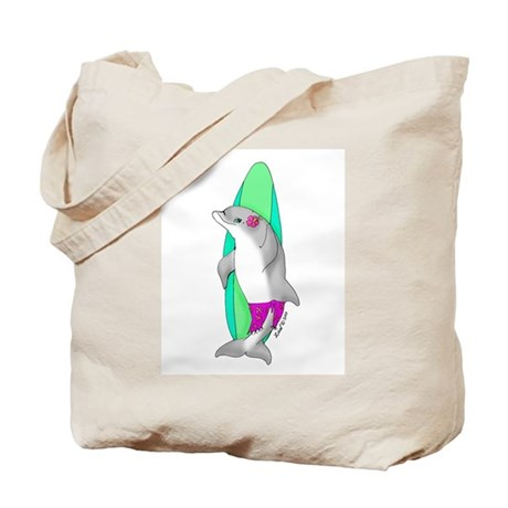 Surfer Girl Dolphin Tote Bag