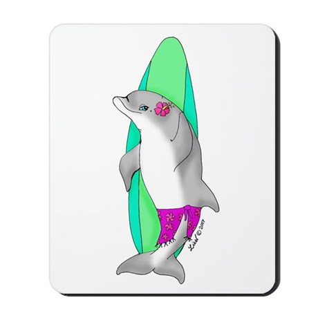 Surfer Girl Dolphin Mousepad