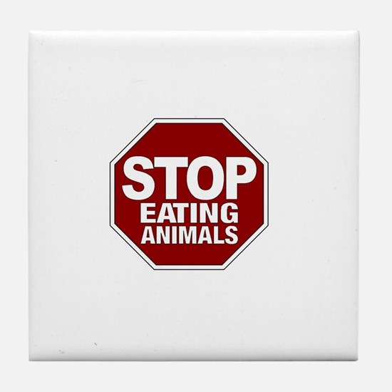 Stop Eating Animals Tile Coaster