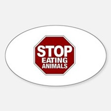 Stop Eating Animals Oval Decal