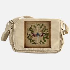 vintage botanical dragonfly Messenger Bag