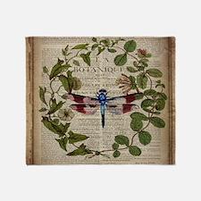 vintage botanical dragonfly Throw Blanket