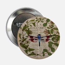 "vintage botanical dragonfly 2.25"" Button"