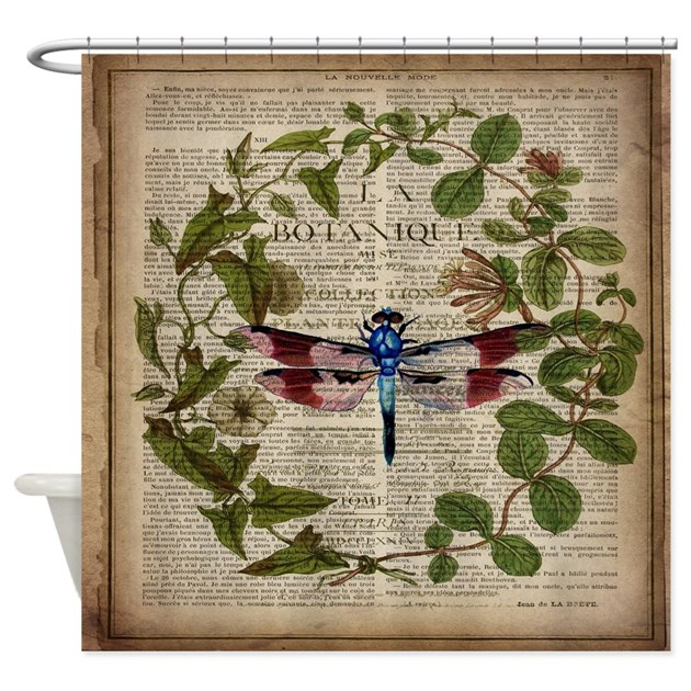 Vintage Botanical Dragonfly Shower Curtain By Listing