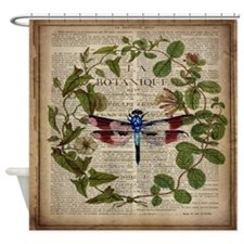vintage botanical dragonfly Shower Curtain