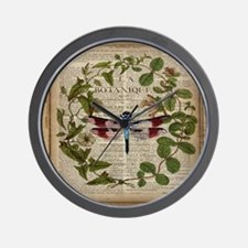 vintage botanical dragonfly Wall Clock